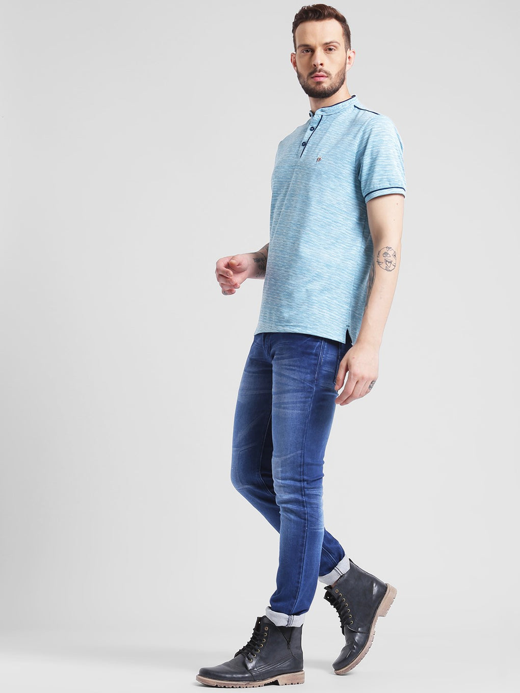 cobb aqua blue mandarin neck t-shirt