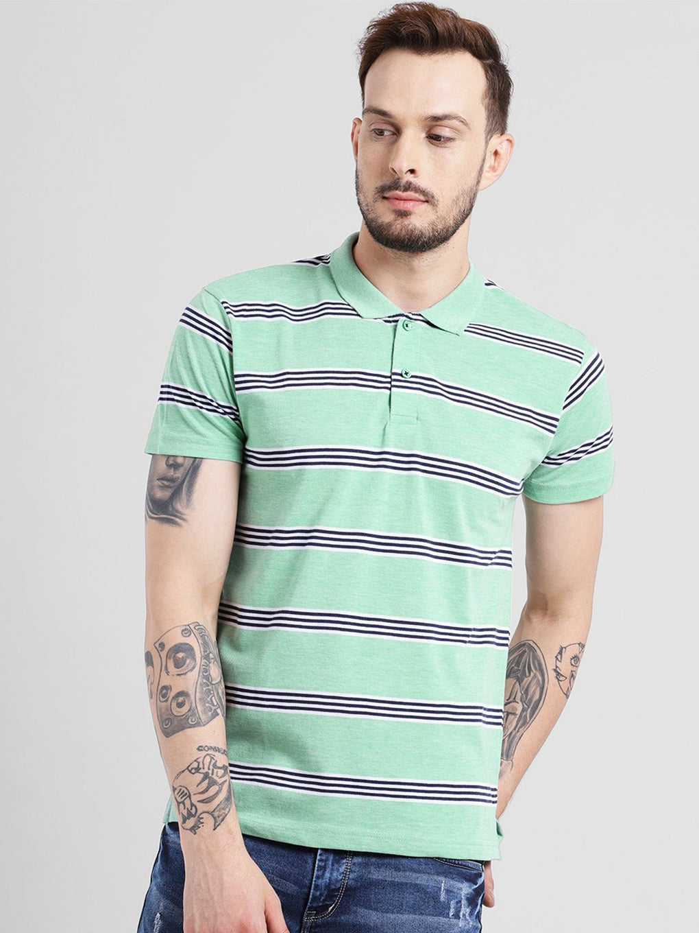 cobb green polo collar t-shirt