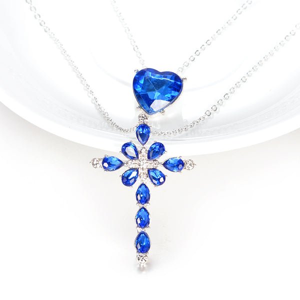 Ocean - Cross Layered Necklace with Blue Rhinestone