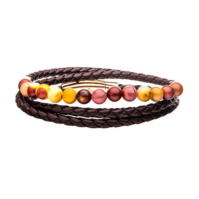 BROWN LEATHER & MOOKAITE BRACELET