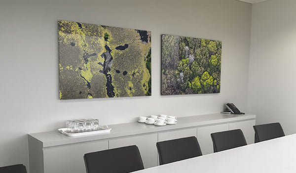 Abstract acrylic photo prints displayed in a commercial office interior setting
