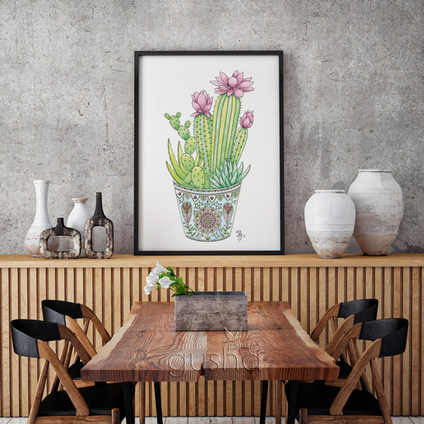 Giclee print above dining table