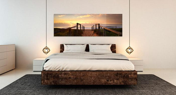 Panoramic acrylic print decorates master bedroom