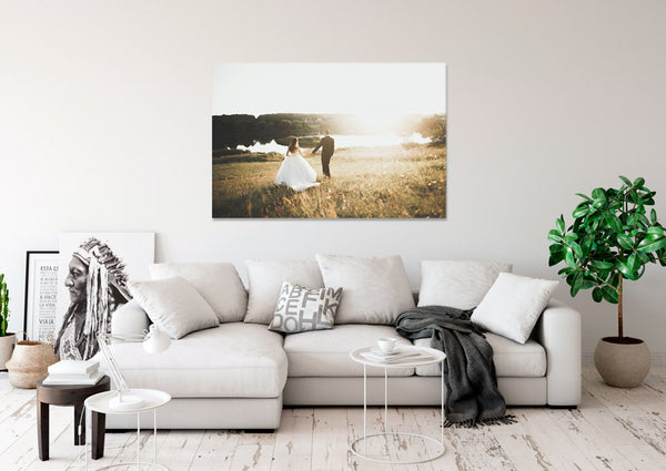 Wedding canvas print above sofa