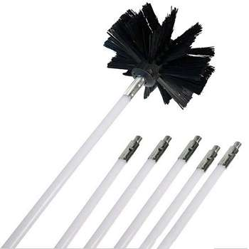 Chimney Brush and Rods Kit Electrical Rotary Drill Drive Sweeping Cleaning Tool with Long Flexible Rods