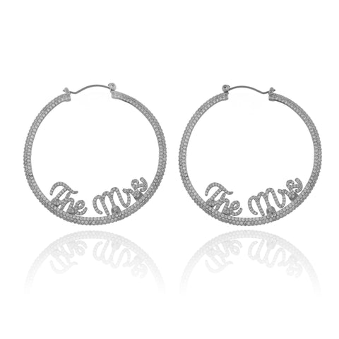 THE MRS Pave Statement Hoop Earrings