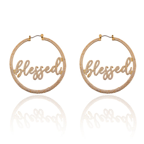 BLESSED Pave Statement Hoop Earrings