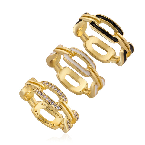 STACKED Enamel Link Rings - Set of 3