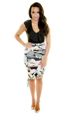 SHANGHAI ROUCHED PENCIL SKIRT