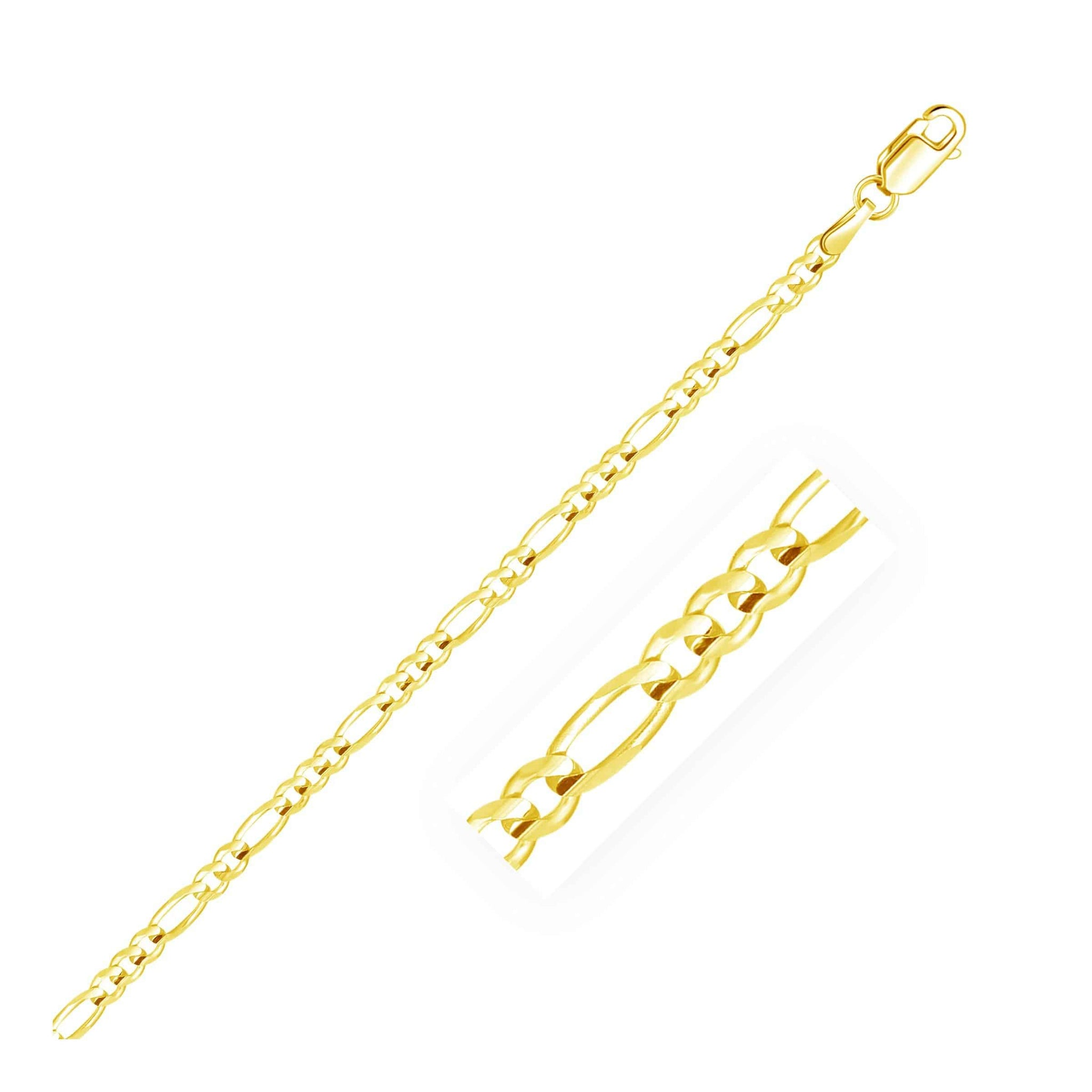 3.1mm 14k Yellow Gold Solid Figaro Bracelet