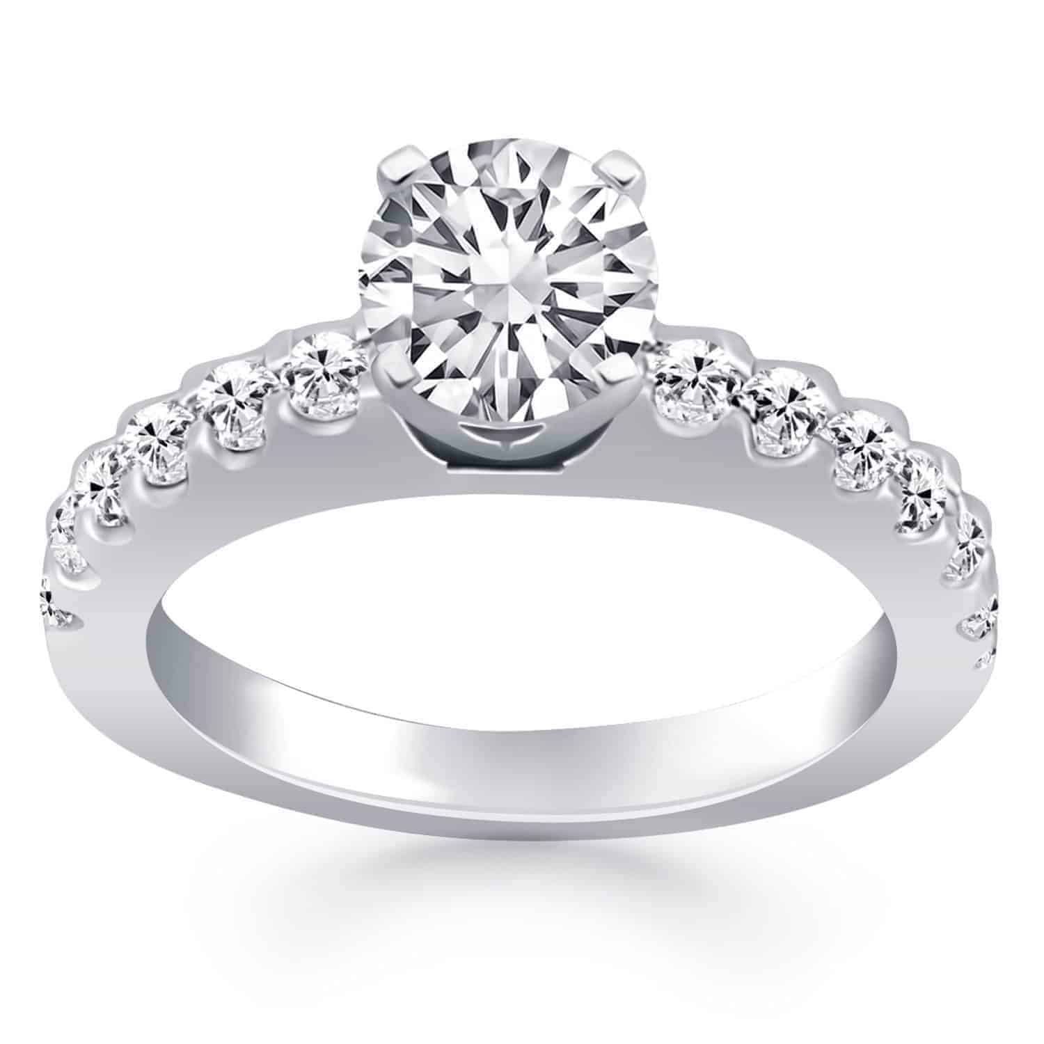 14k White Gold Diamond Micro Prong Cathedral Engagement Ring