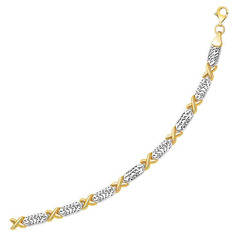 14k Two-Tone Gold Fancy X Line Bracelet