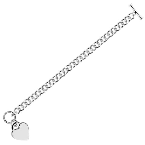 Sterling Silver Rhodium Plated Rolo Style Heart Charmed Chain Bracelet