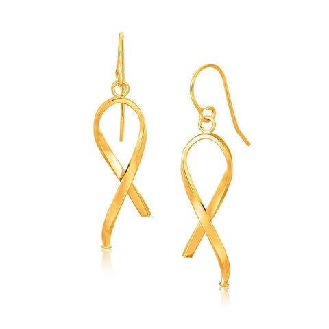 14k Yellow Gold Ribbon Style Dangling Earrings