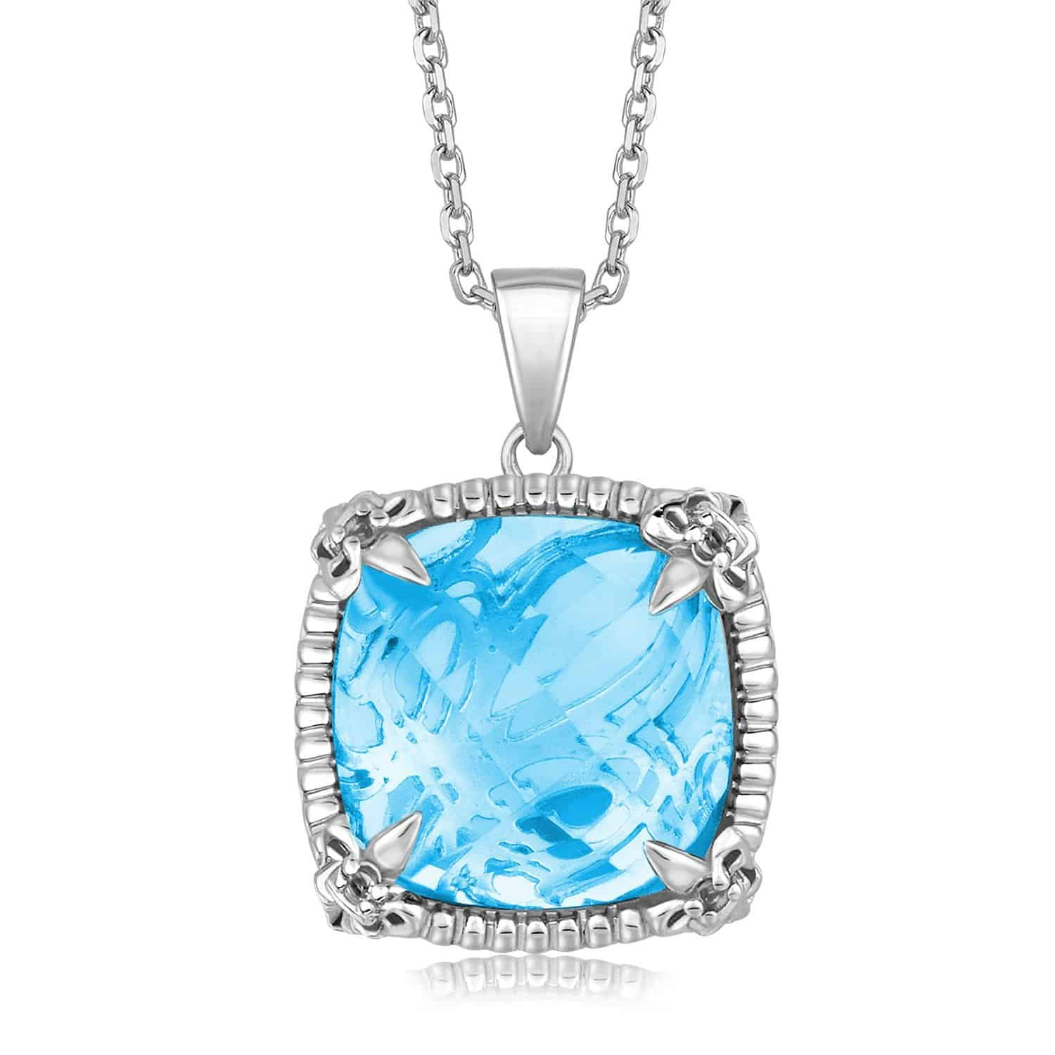 Sterling Silver Pendant with White Sapphire Accented Sky Blue Topaz