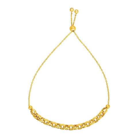 Adjustable Round Link Chain Bracelet in 14k Yellow Gold