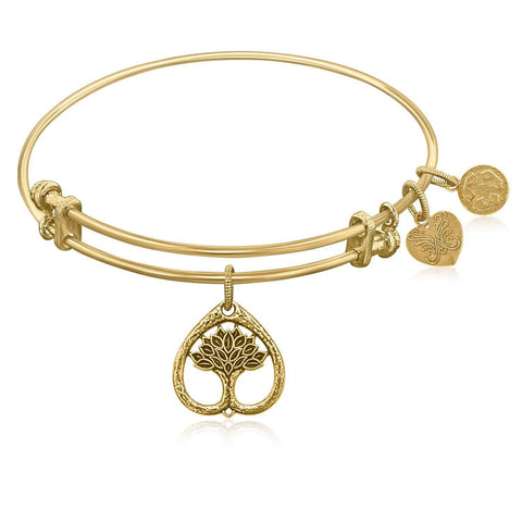 Expandable Bangle in Yellow Tone Brass with Tree Of Life Growth Maturity Symbol