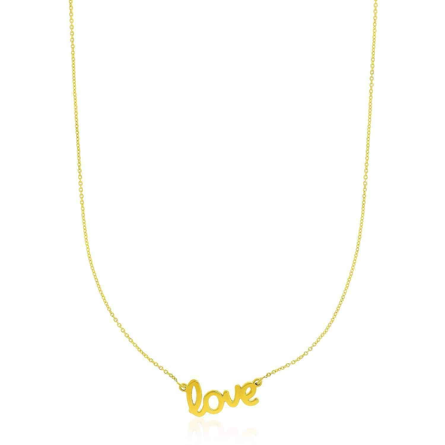 14k Yellow Gold Script LOVE Necklace