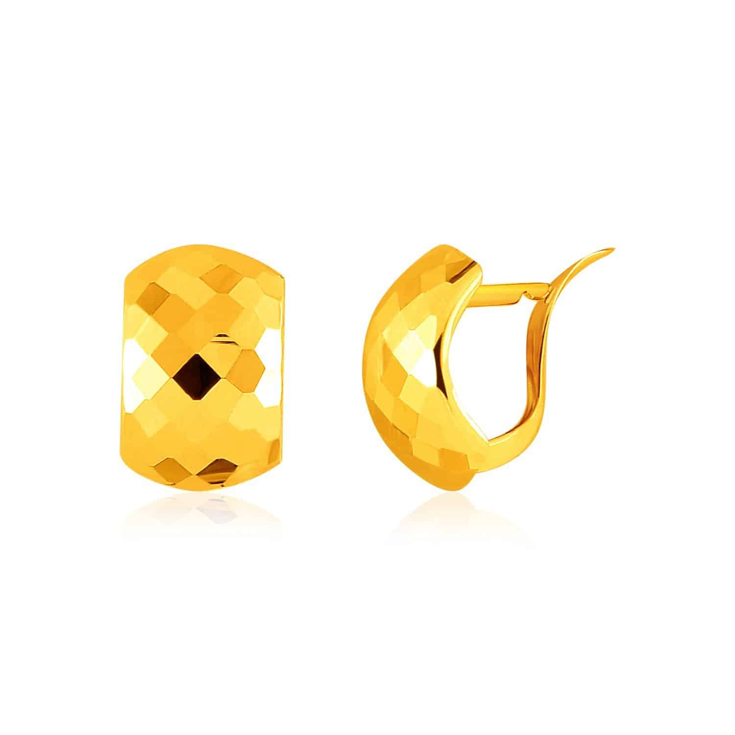 14k Yellow Gold Geometric Texture Earrings