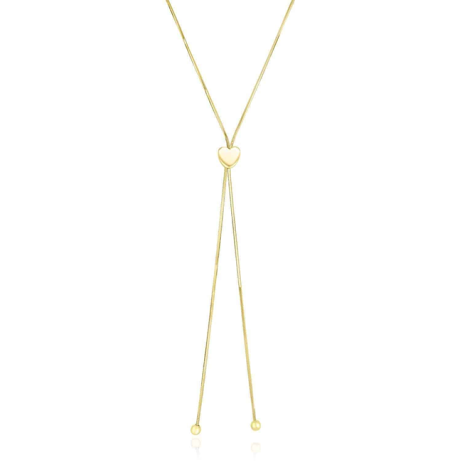 14k Yellow Gold Adjustable Heart Style Lariat Necklace