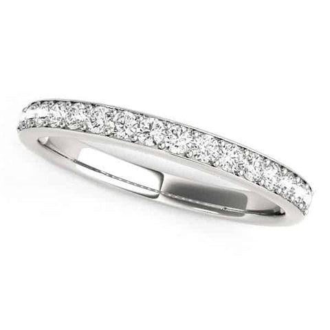 14k White Gold Prong Set Wedding Band with Diamonds (1/3 cttw)