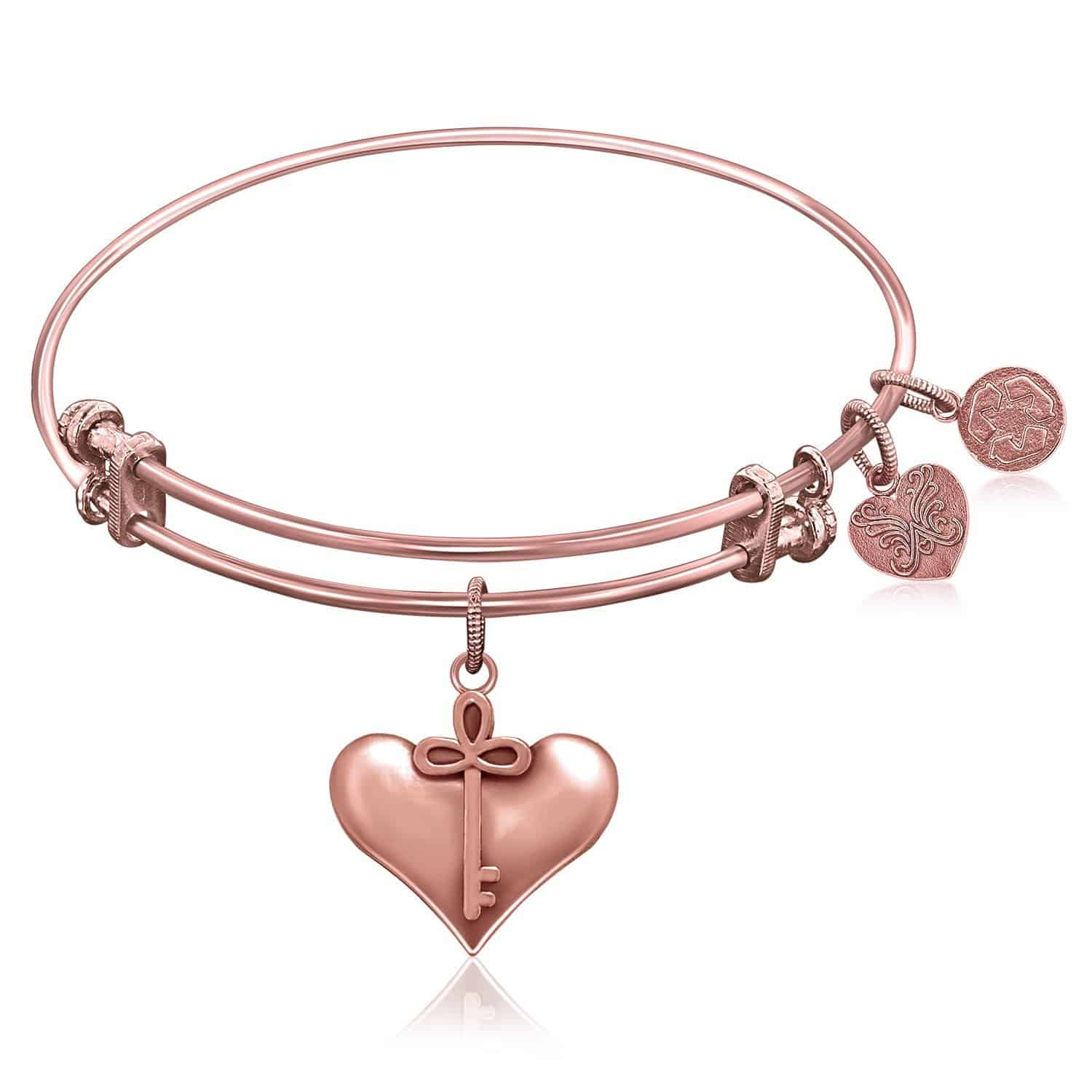 Expandable Bangle in Pink Tone Brass with Cherish Symbol