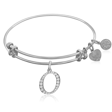 Expandable White Tone Brass Bangle with O Symbol with Cubic Zirconia