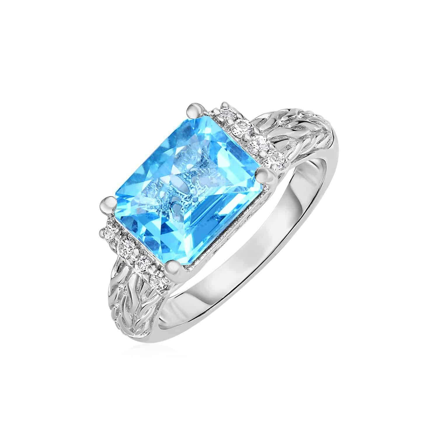 Blue Topaz and White Sapphire Ring in 18k Yellow Gold and Sterling Silver