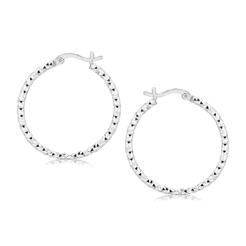 Sterling Silver Faceted Motif Hoop Earrings with Rhodium Plating