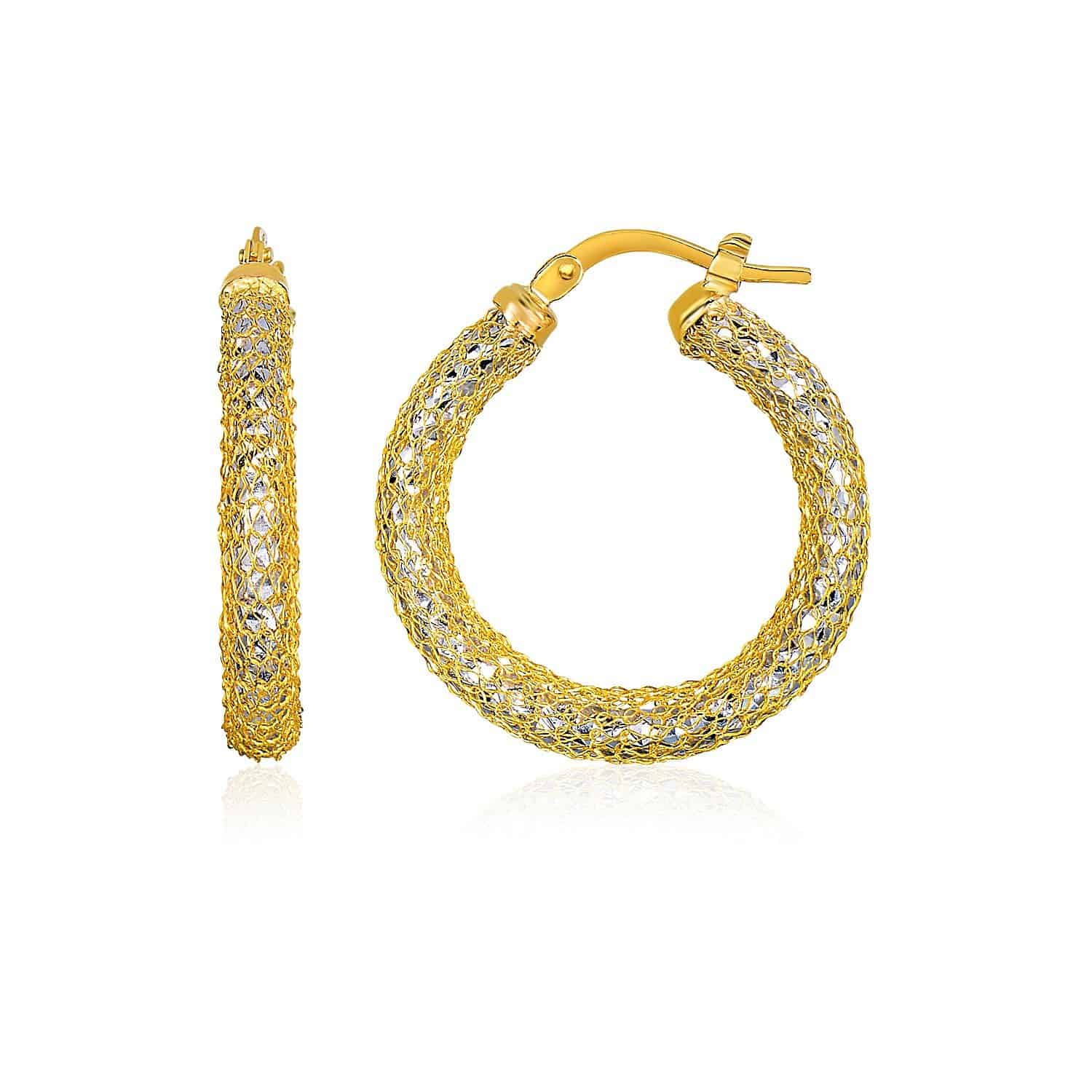 14k Two-Tone Yellow and White Gold Sparkle Texture Hoop Earrings