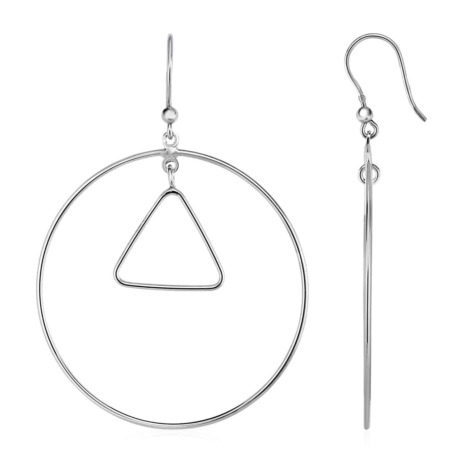 Earrings with Polished Circle and Triangle Drops in Sterling Silver