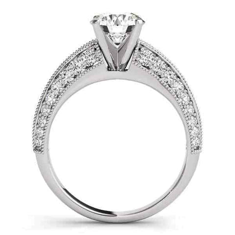 14k White Gold Pronged Round Antique Diamond Engagement Ring (1 1/2 cttw)