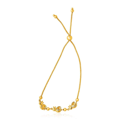14k Yellow Gold Bumblebee Station Lariat Design Bracelet