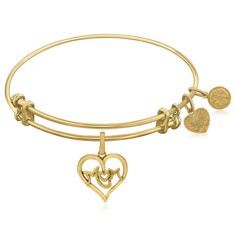 Expandable Yellow Tone Brass Bangle with M-Heart-M Symbol