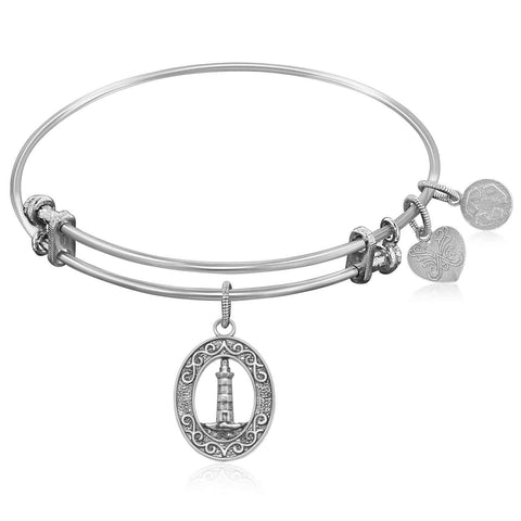 Expandable Bangle in White Tone Brass with Lighthouse Beacon Of Hope Symbol