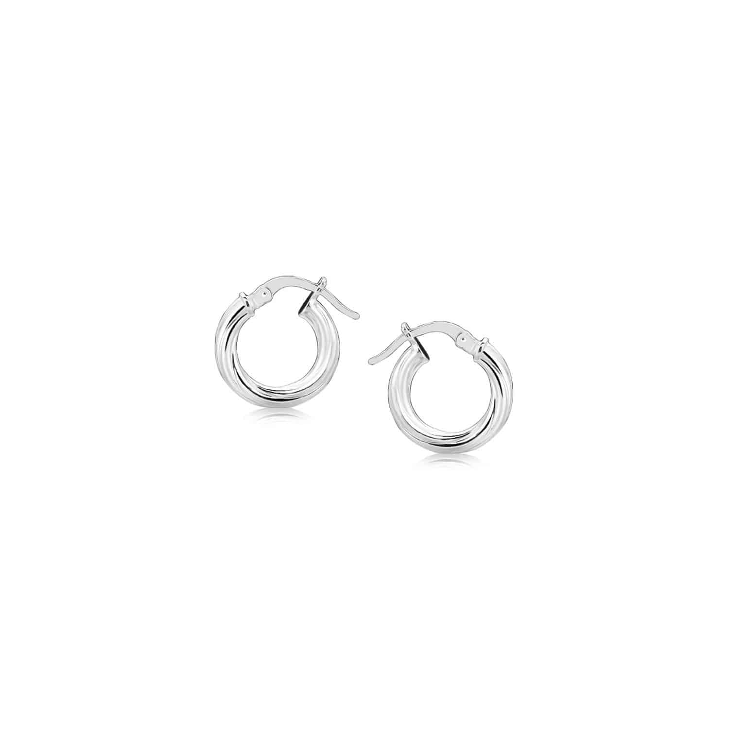 Sterling Silver Twist Style Small Size Hoop Earrings