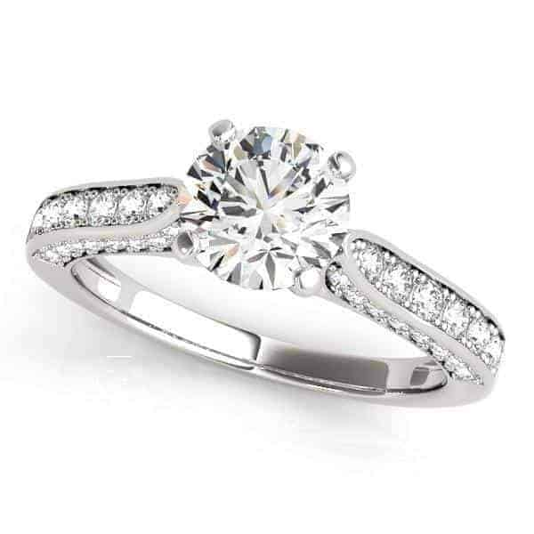 14k White Gold Round Cathedral Diamond Engagement Ring (1 1/2 cttw)