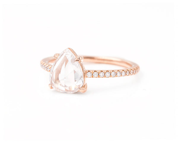 0.93-Carat Rose Cut Pear Diamond Ring