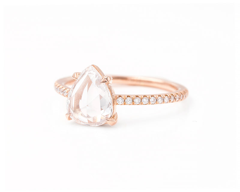 0.93-Carat Rose Cut Pear Ring