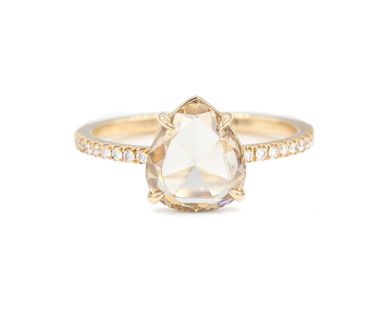 Everett Fine Jewelry 1.56-Carat Champagne Rose Cut Pear Diamond Solitaire