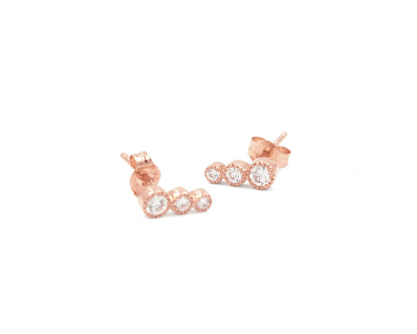 Everett Fine Jewelry Triplet White Diamond Studs