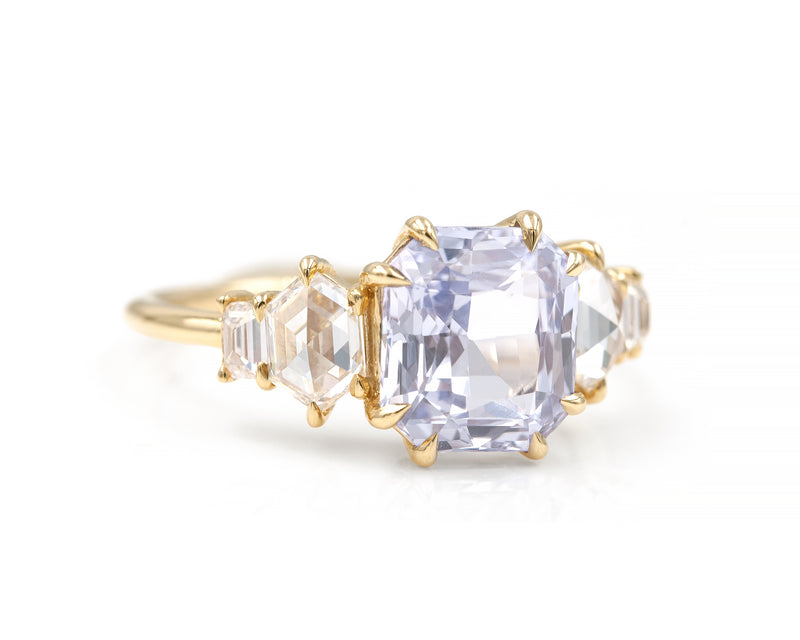 3.69-Carat Radiant Cut Sapphire Cluster Ring