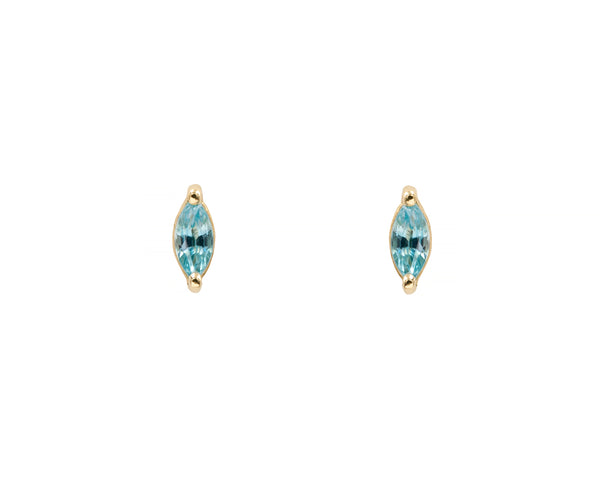 Blue Zircon Marquise Studs (14K Yellow in Stock)