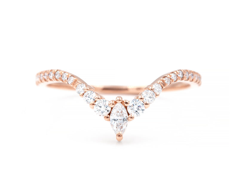 Curved Marquise Band with Pavé