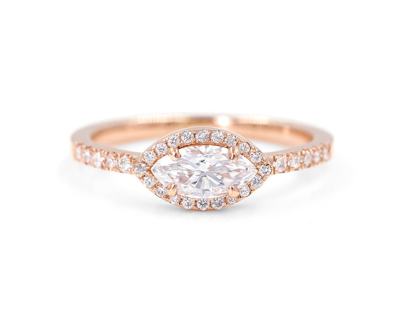 Everett Fine Jewelry East-West Marquise Diamond Halo Ring