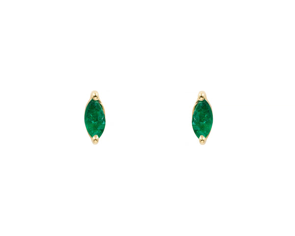 Emerald Marquise Studs