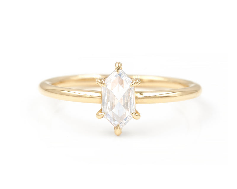0.47-Carat Rose Cut Hexagon Solitaire