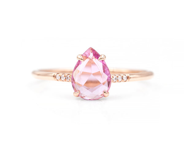 0.84-Carat Rose Cut Pink Sapphire Ring (size 6.5 in stock)
