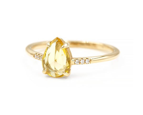0.84-Carat Rose Cut Yellow Sapphire Ring (size 6.5 in stock)