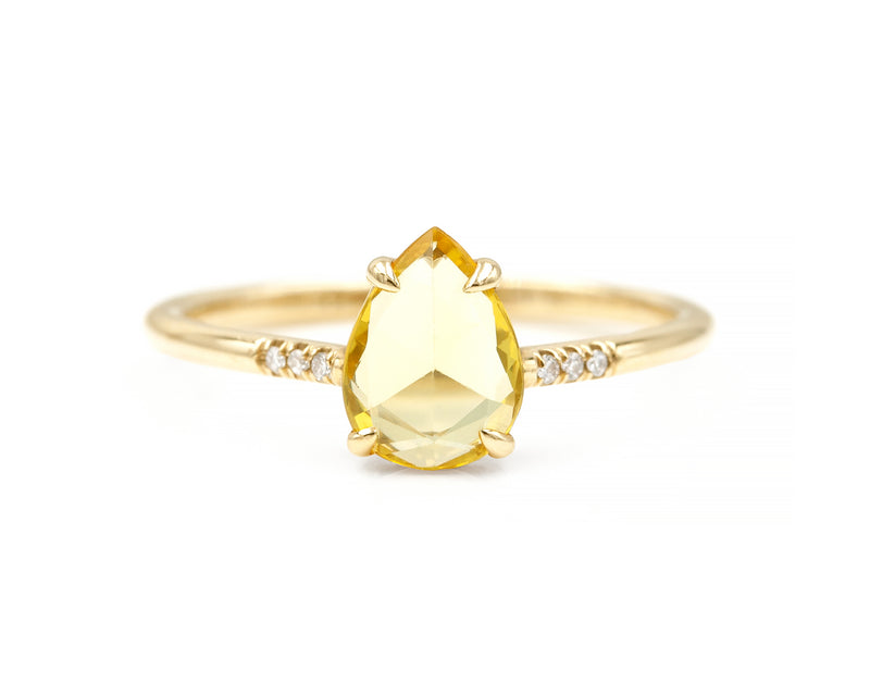 0.84-Carat Rose Cut Yellow Sapphire Ring